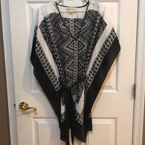 Michael Kors Black & White Tie Tunic L/XL EUC